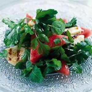 Watermelon & Herb Salad With Grilled Halloumi - #Halloumi is a spongy ...