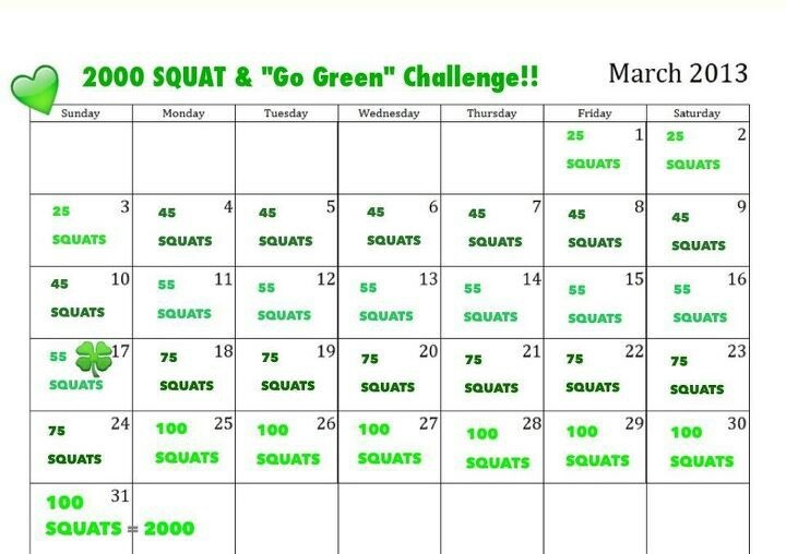 Squat 2000 Green Challenge | Monthly Fitness Challenges | Pinterest