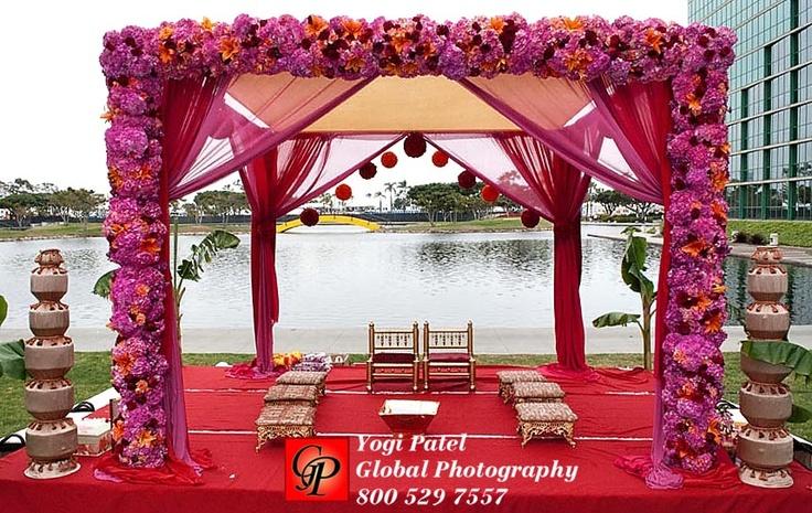 Pink floral mandap decor wedding decor ideas pinterest for Artificial flower decoration mandap