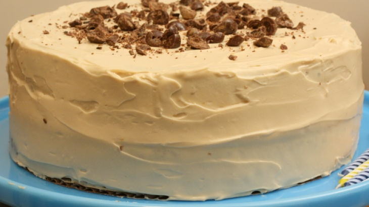 Pecan-Espresso Birthday Cake with Coffee Icing