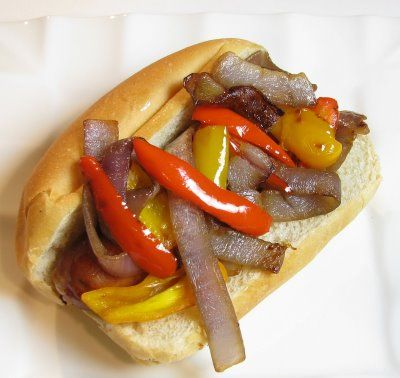 ... and Herb Chicken Sausages, with Caramelized Onions and Bell Peppers