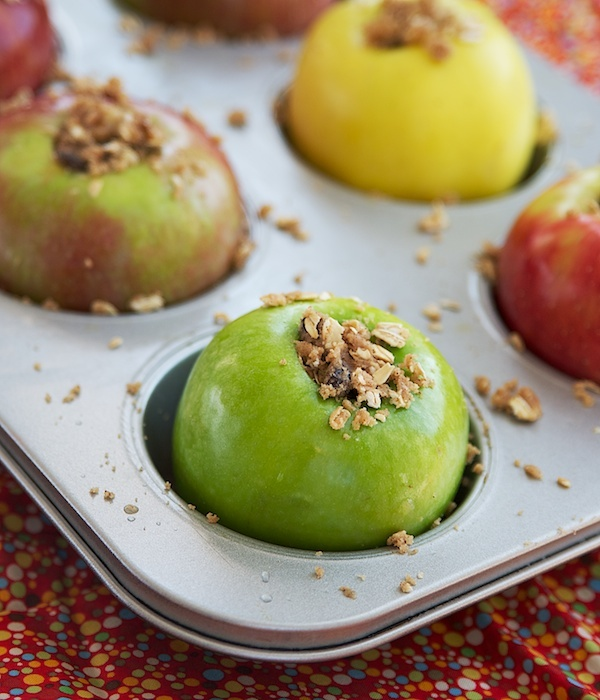 Baked apples with walnuts. (I will use Earth Balance, less of it, and ...