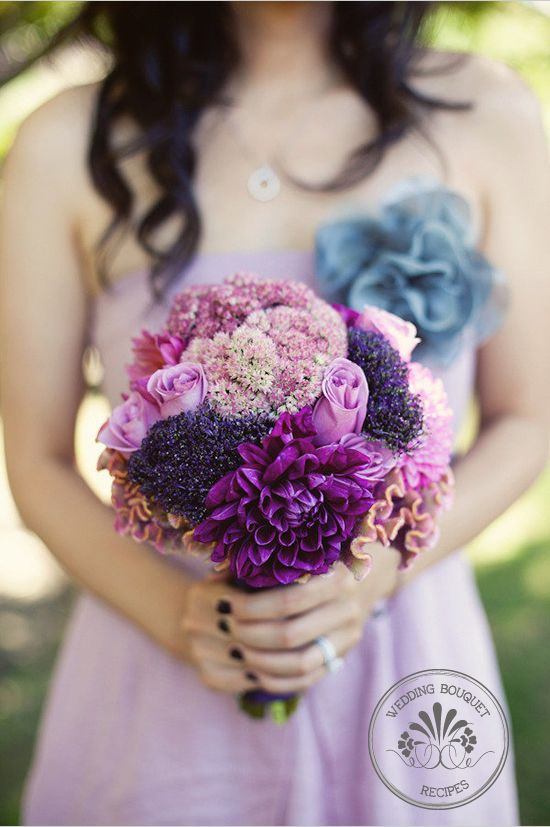 bouquets, cockscomb, dahlia, hot pink, mauve, plum, purple, rose