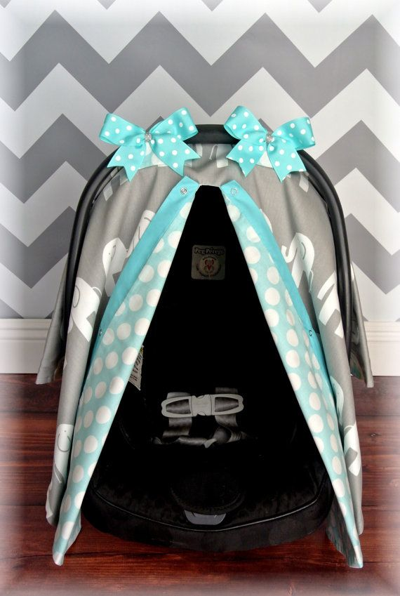 NEW ELEPHANTS Carseat Canopy Car Seat Cover Teal