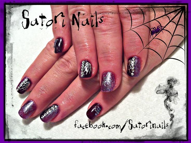 Halloween gel nails with rhinestones | Satori Nails | Pinterest