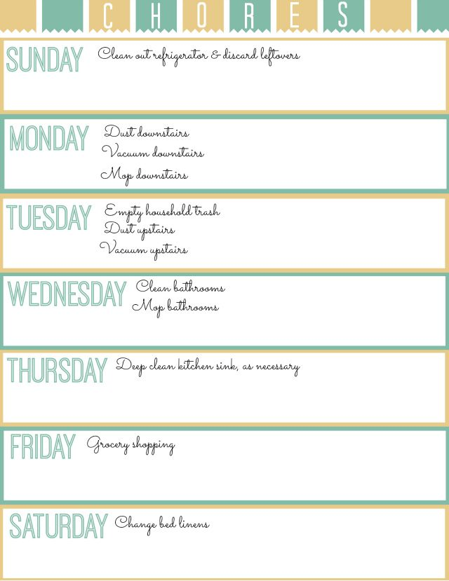 Free Printable Weekly Chore Chart: Use this handy checklist to ...