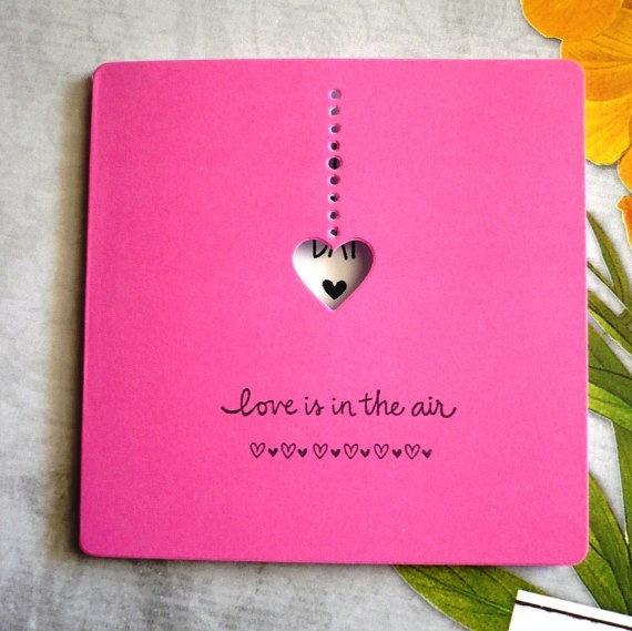 love is in the air valentine card  pink by RaleighWoodTreasures, $1.85