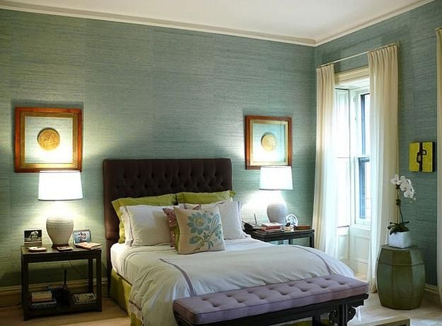 Green color for home decorating with peaceful and pleasant for Sea green bedroom designs