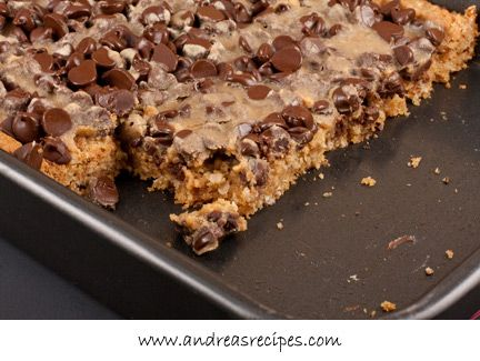 Whole Wheat Oatmeal Peanut Butter Bars with Chocolate Chips