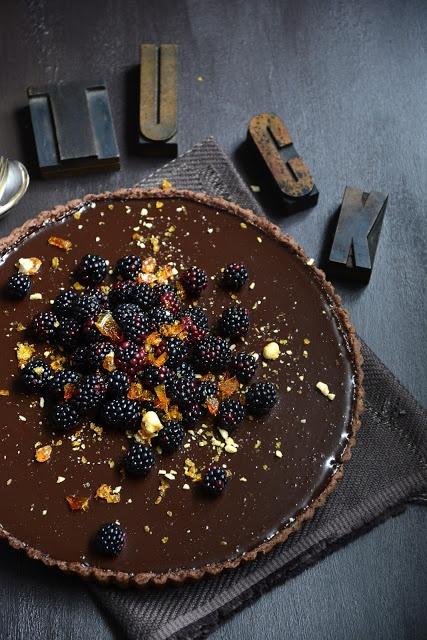 Dark Chocolate Pie With Cocoa Nib Praline Recipe — Dishmaps