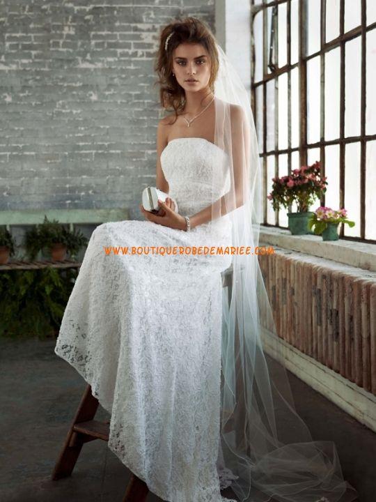 Robe de mariée dentelle sans bretelle  Robe de mariée dentelle ...