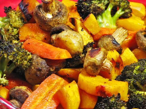 Lemony roasted butternut squash, broccoli, mushrooms and carrots ...