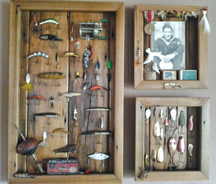 Shadow boxes made with old fishing lures crafts pinterest for Fishing lure display case