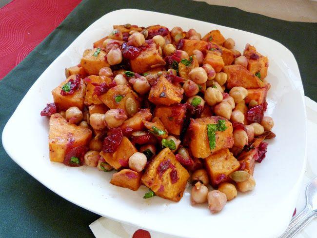 Roasted Sweet Potato & Chickpea Salad with Warm Cranberry Chutney ...