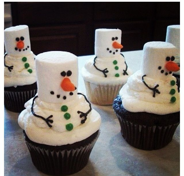 Snowman cupcakes | Cakes, Cupcakes | Pinterest