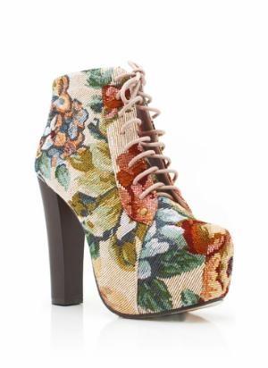 oversized embroidered flower booties $48.00 in PINK - Heels | GoJane.com