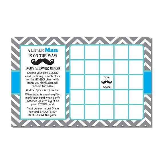 Chevron Mustache Bingo Baby Shower Game by TreasuredMomentsCard, $5.00