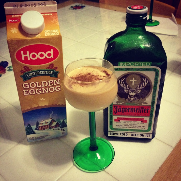 parts eggnog, 1 part Jagermeister, topped with cinnamon or nutmeg ...