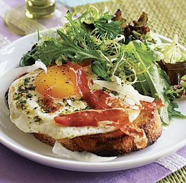 Garlic & Herb Fried Eggs on Toasts with Prosciutto Crisps  Buon Appetito!  #AdeaEeryday