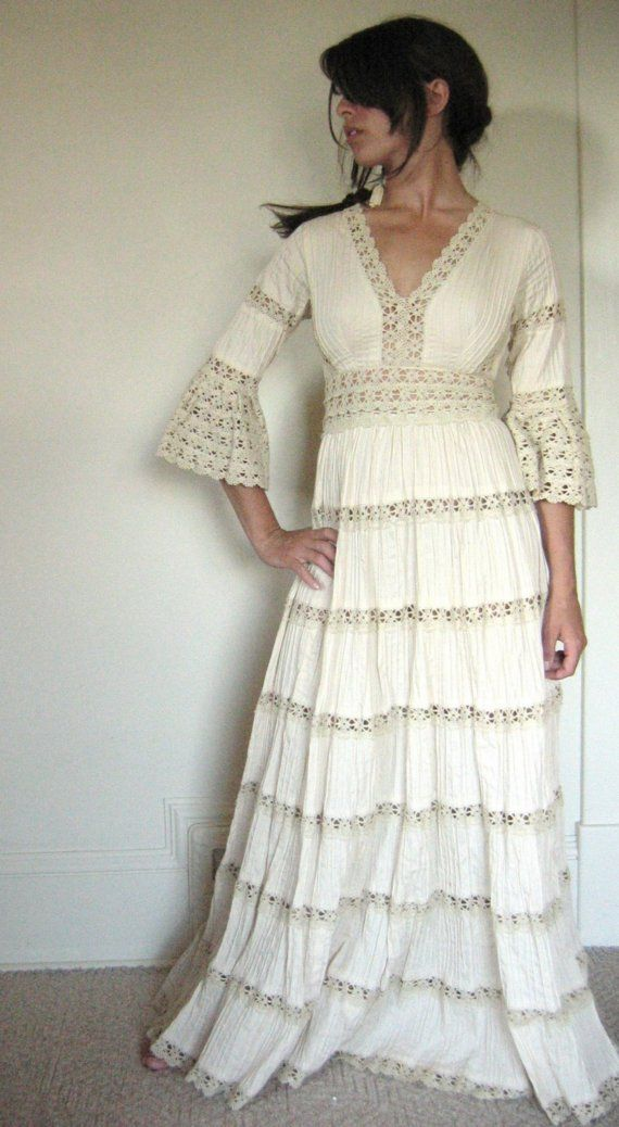 Vintage Mexican Wedding Dresses For  : Vintage mexican cotton wedding dress xs or s