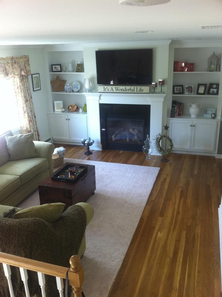 Living room fireplace with built ins