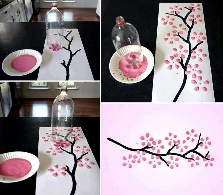 Easy cherry blossom art big dreams big house pinterest for Simple cherry blossom painting