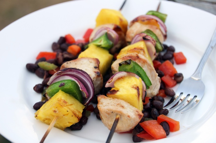 Grilled Island Chicken Kabobs and Spicy Black Beans