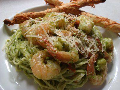 Spinach Basil Pesto Pasta And Shrimp Recipe — Dishmaps