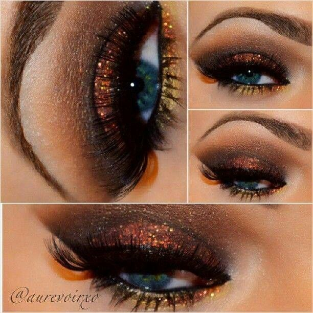 Dramatic eye makeup ideas for thanksgiving. Blue eyes makeup with ...