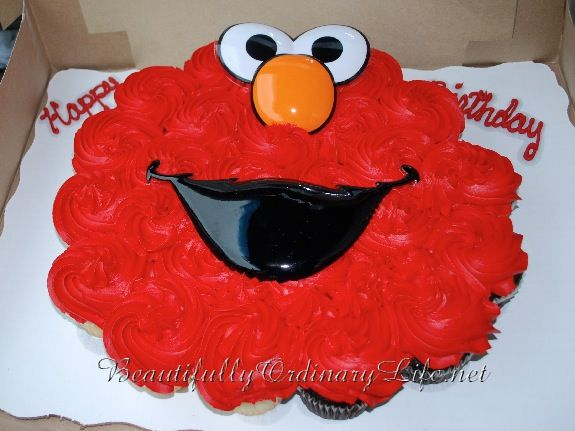 "Elmo Cupcake ""cake"" thinking of doing this with red velvet"