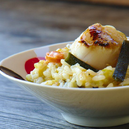 ... . Risotto seaweed and scallops. #risottolove #seaweed #saltygoodness