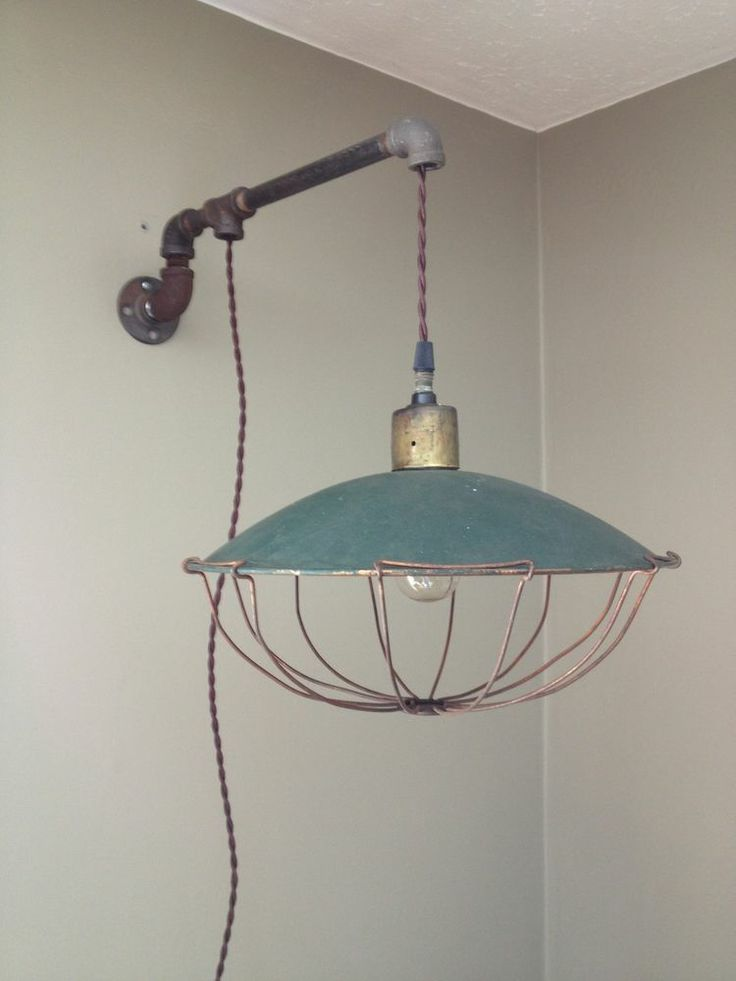 Vintage Industrial Wall Mount Hanging Copper Light Cage Twisted Cloth?