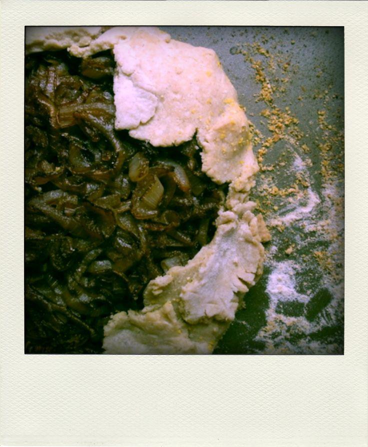 vegan balsamic onion and sage cashew cream tart