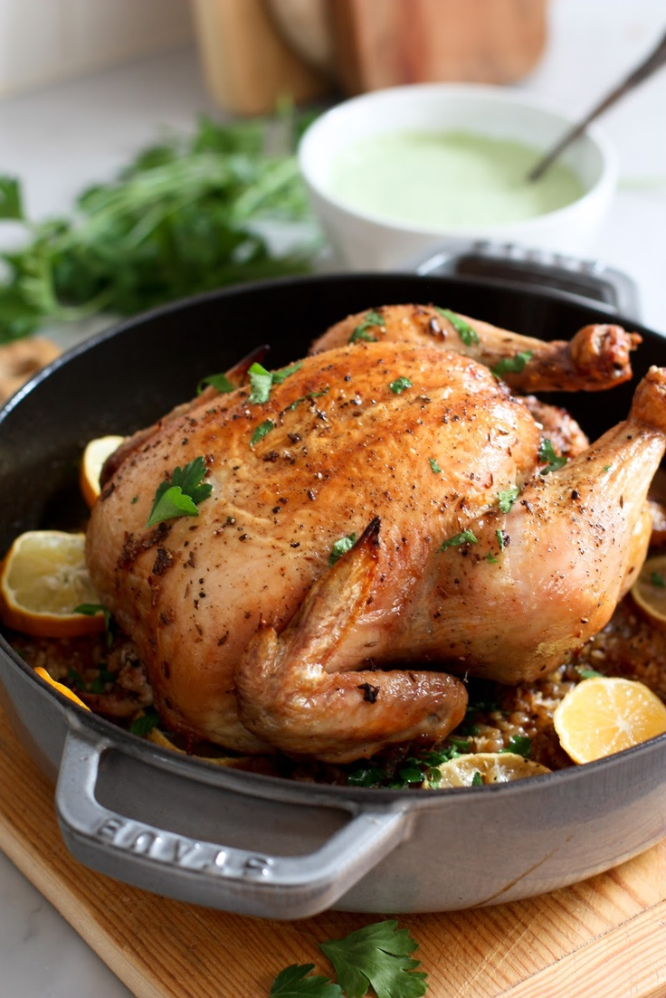 Roasted Harissa Chicken -with saffron basmati rice and Lemon parsley ...