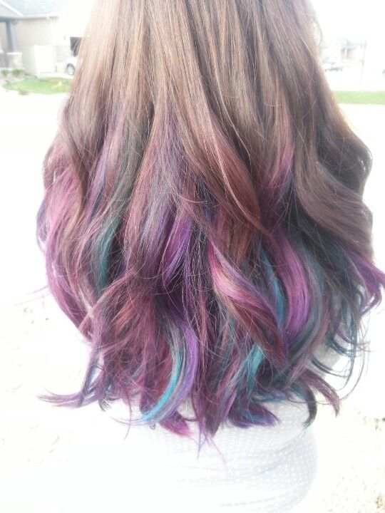 ... long brown hair with purple, red violet, and turquoise highlights