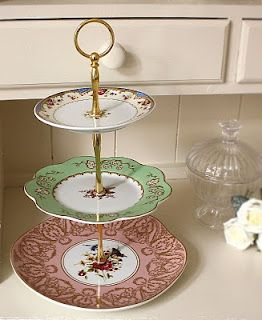 Make your own shabby-chic dessert stand! So cute for weddings, parties, and showers.