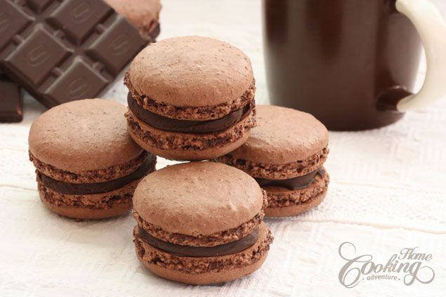 chocolate macarons, but i'd do a raspberry filling instead!