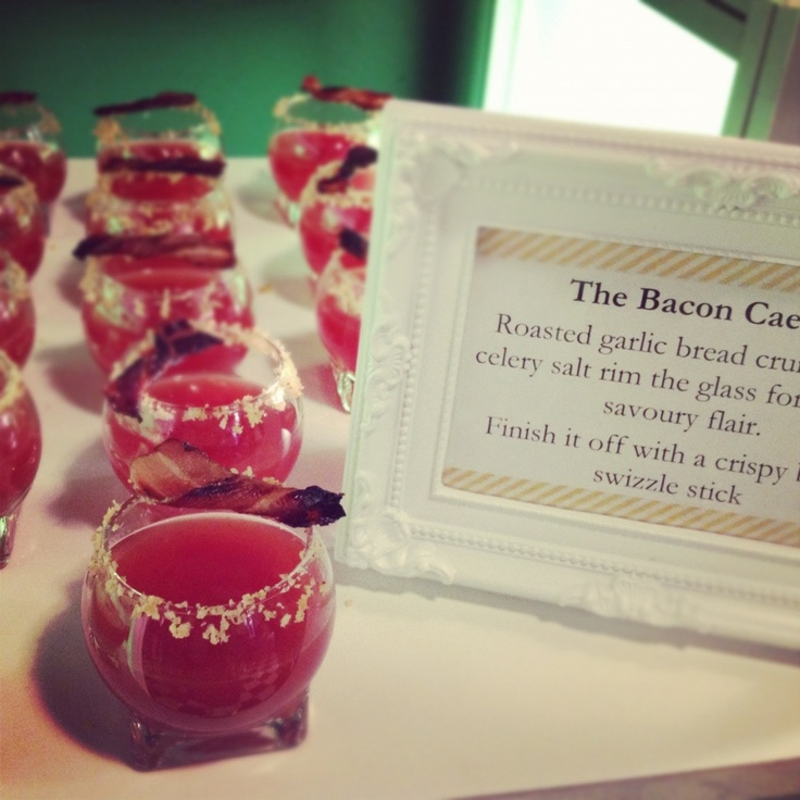 Caesar Shots with Bacon Swizzle Sticks created by Tulips & Maple ...