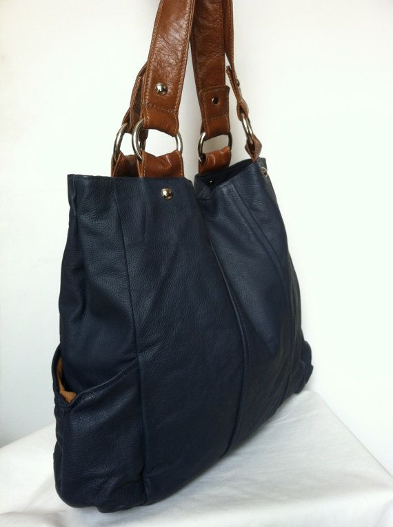 ... :.etsylisting122892625genuine-navy-blue-and-brown-leather