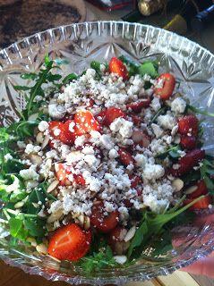 Arugula Strawberry Salad with Lemon Basil Dressing