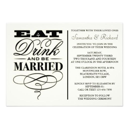 Eat Drink Be Married Wedding Invitations as amazing invitation layout