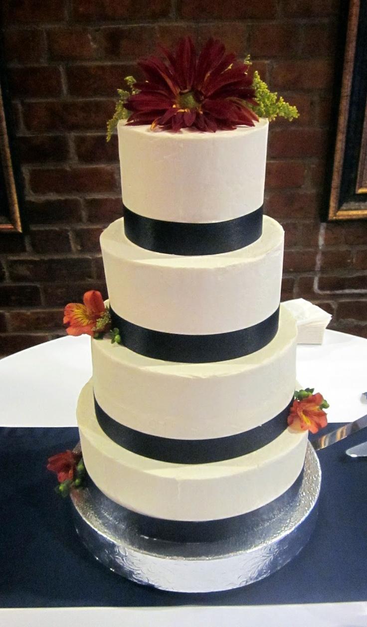Navy And White Buttercream Wedding Cake