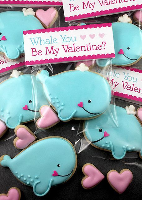 Whale Cookie Valentine Treats: such a cute design for the whale, makes me want to eat them!