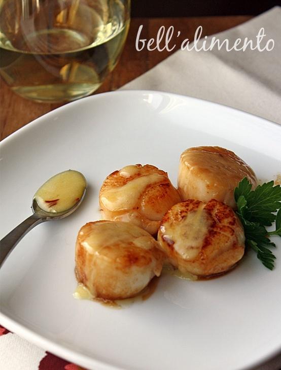 Sea Scallops in Saffron Sauce by @Paula - bell'alimento (use lard and ...
