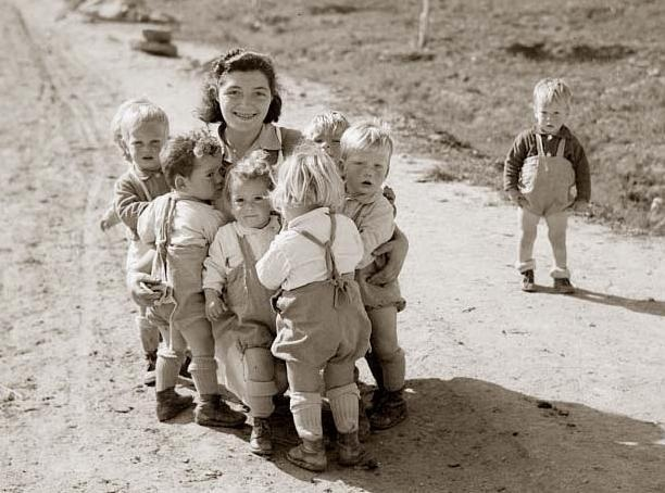 Children at the Negba settlement by Matson photo service in 1946. Israel.