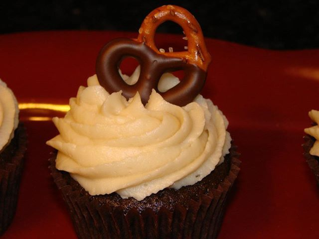 ... stout cupcake with whisky ganache and chocolate covered pretzel