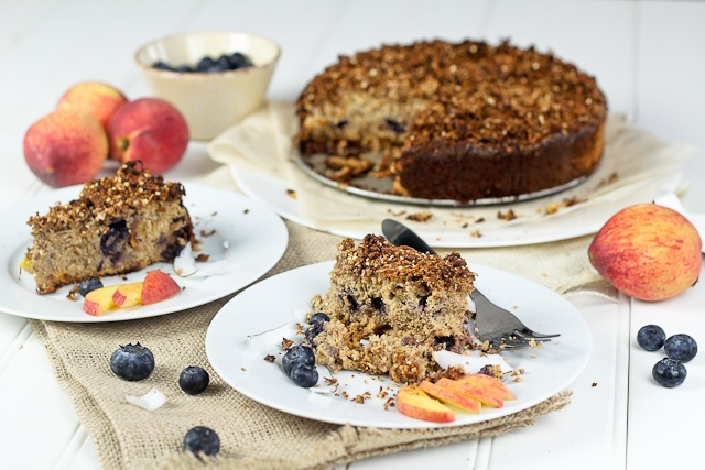 Peaches and Blueberry Coffee Cake (Grain Free, Sugar-Free)