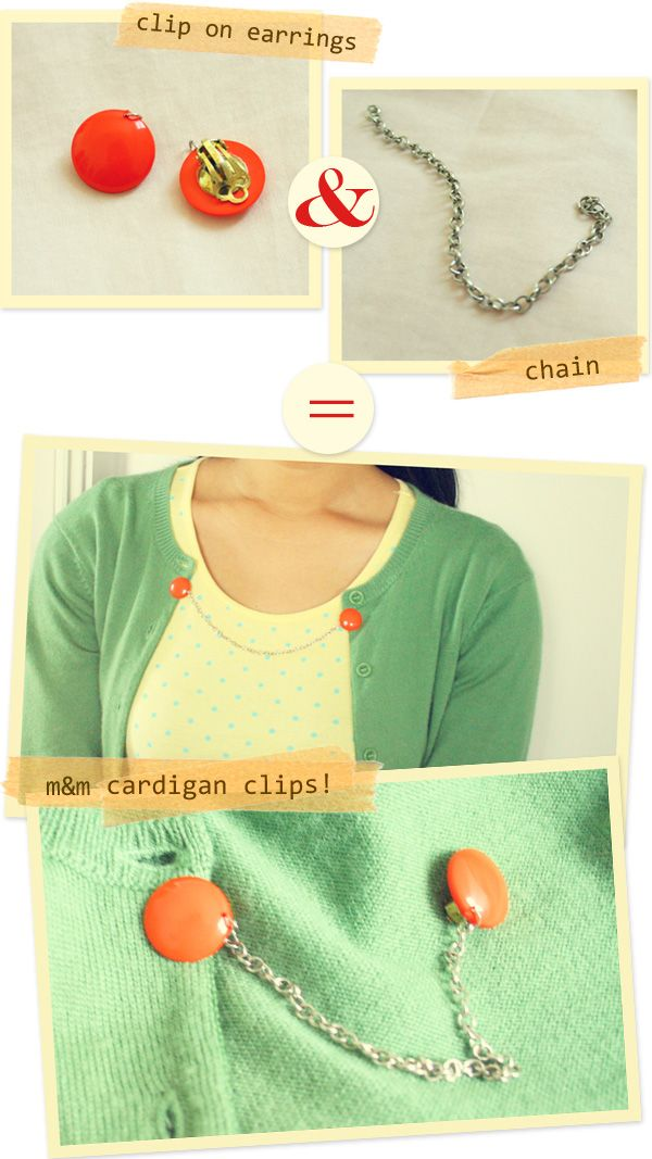 d.i.y. cardigan clips. Every girl needs a cardigan clip.