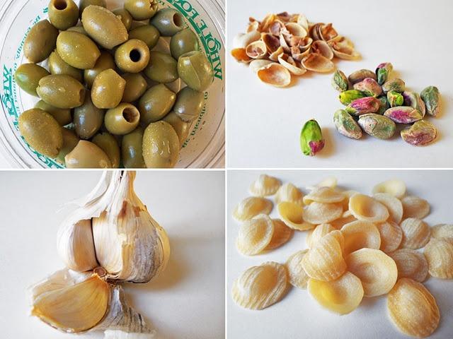 Orecchiette with Pistachio & Picholine Olive Sauce... YUM.
