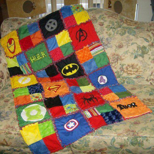 Ready 2 Ship Superhero Super Hero Comic Cotton and Minky Chenille Applique Lap Size Rag Quilt Blanket